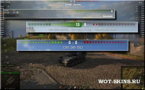 Часы в ангар World of Tanks 0.8.11 + часы в бою + DebugPanel